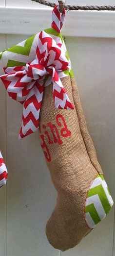 Personalized Christmas Stocking Chevron (One Red Bow Burlap Stocking)