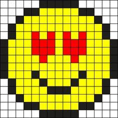 Heart Eyes Emoji Perler Bead Pattern / Bead Sprite