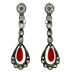 Diamond Coral Gold Drop Earrings | From a unique collection of vintage drop earrings at https://www.1stdibs.com/jewelry/earrings/drop-earrings/