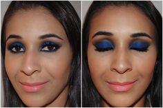 Maquiagem com sombra azul royal e batom coral