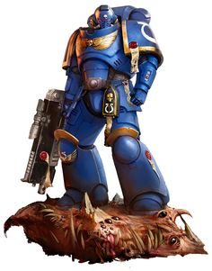 The Primaris Space Marine here is an Intercessor wearing Mk X Tacticus armour, a suit that combines the most effective elements of ancestral Horus Heresy patterns of plate with more recent developments in power armour technology. He carries into battle a bolt rifle: the archetypal firearm of Space Marines, re-engineered, re-crafted and perfected.