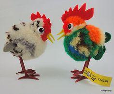 Steiff-Woolen-Rooster-Hen-Chicken-8-cm-ID-Button-Tag-1970s-Vintage