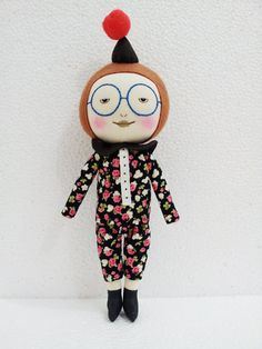 Handmade smiling doll with party hat large size by EEchingHandmade