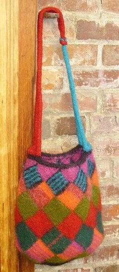 knittinweaver's Entrelac Felted Bag, worsted weight