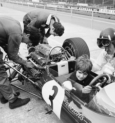 Damon Hill sits in his father's Lotus 33 BRM at a Silverstone test session in early 1967.