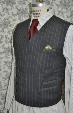 Mens Modern Double Breasted Vest---Steampunk---Modern Suit-Dapper---Made to Measure---Made to Order. $145.00, via Etsy.