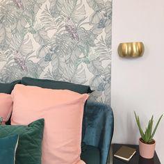 Bleu  or  quelques dtails de la chambre aperuehellip Botanical Interior, Decoration, Tapestry, Colours, Bedroom, Wallpaper, Fabric, House, Cocoon