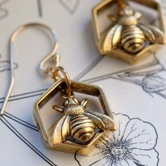 Honey Bee Earrings   Stitch and Stone