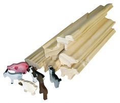 Viel Bastelmaterial für Kiga-Gruppen Kindergeburtstage Bauernhoftiere Holzteile zum Bemalen