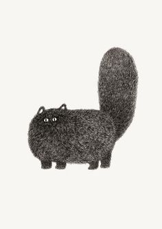 Kitty 2 by kamweiatwork Illustration Cat, Cat Illustrations, Cat Prints, Cat Art Print, Black Cat Silhouette, I Love Cats, Crazy Cats, Cute Cats, Fluffy Cat