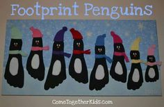 paper, or have kids paint their foot with black craft paint {with the help of an adult} and create a footprint directly onto the blue construction paper. From there, use the felt sheets to create the belly of the penguin, as well as the hat and scarf, and the orange construction paper and wiggle eyes to finish the face!