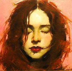 Malcolm T. Liepke (b. 1953), oil on canvas {figurative #impressionist art beautiful redhead female head woman face portrait painting}