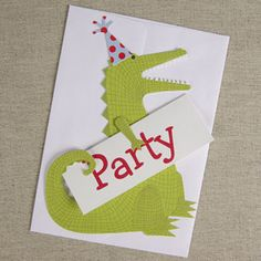 Party Crocodile Invitations - Pack of 8