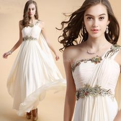 Greek Style One Shoulder Chiffon Floor Length Prom Dress/Formal Dress (Champagne and Red)