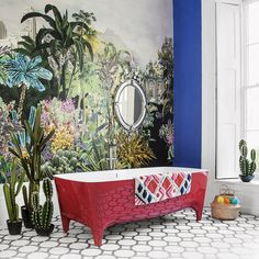 Bring a tropical touch to a modern bathroom