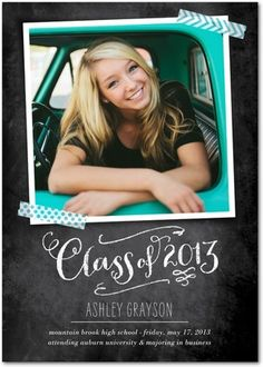 Take your graduation photos in a bright car or truck and match it with a chalkboard scrapbook style graduation announcement!