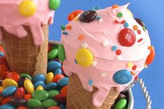 Summer-all-year-round Cones.  A bright idea from...who else?  M & M's! :-)