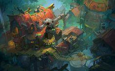 ArtStation - Beyond Human Challenge - Spirit House, Grace Liu Human Environment, Environment Concept Art, Environment Design, Character Concept, Character Design, Dragons, Visual Development, Environmental Art, Artist At Work