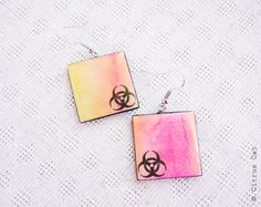Biohazard sign earrings  - Watercolor jewelry by CitrusCat on Etsy