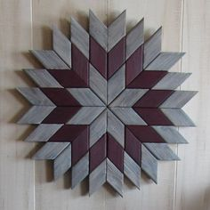 This Weathered Geometric Wood Art would look beautiful anywhere in your home. All of the Barn Quilts come with a sawtooth hanger and can either be put on a wall or sat on a shelf. Perfect addition to your farmhouse decor! These Barn Quilts are made from pine wood, cut into