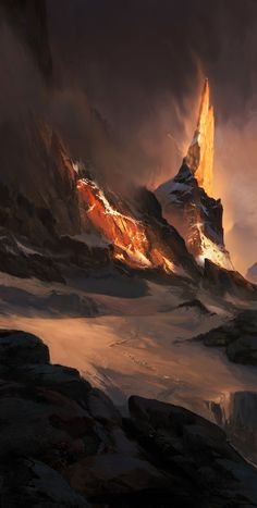 Burning Peak, waqas malik on ArtStation at https://www.artstation.com/artwork/NaDvN