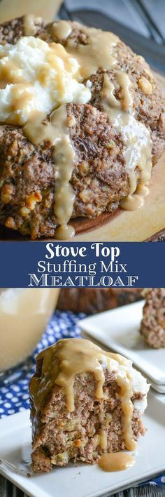 An easy meatloaf with a simple ingredient list, this Stove Top Stuffing Mix Meatloaf is the perfect dinner for busy nights. Served with creamy mashed potatoes and rich gravy, your family will never guess your secret to such a cozy meal. via 4 Sons 'R' Us Meat Recipes, Cooking Recipes, Recipies, Hamburger Recipes, Stuffed Meatloaf Recipes, Amish Recipes, Dutch Recipes, Stove Top Recipes, Hamburger Casserole
