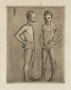 Pablo Picasso (Spanish, 1881-1973), Les deux saltimbanques, 1906. Etching from the Saltimbanques Suite.