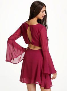 Red V Neck Long Sleeve Backless Chiffon Dress -SheIn(Sheinside)