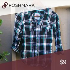 Plaid Long Sleeve Black, blue, light blue long sleeve plain shirt. Like new, worn only a couple times. Size Small, true to size. Tops Tees - Long Sleeve