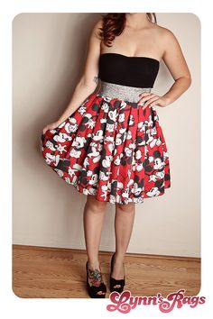 MICKEY MOUSE Disney SKIRT Vintage Red Black Bow by lynnsrags, $45.00