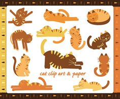 Limber & Lazy Tabby Cat Clip Art. Includes four tribal digital papers. Handmade illustrations. #cats #clipart #digitalpaper #tribal #pets #kittys #kittens #tabby