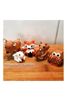Fondant cake topper - Woodlands creatures, owl, squirrel, fox, deer, rabbit