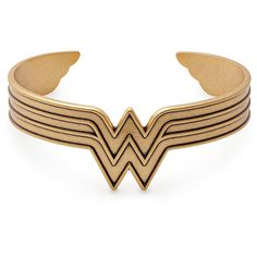 Wonder Woman Cuff ($48) ❤ liked on Polyvore featuring jewelry, bracelets, cuff bracelet, cuff bangle, hinged cuff bracelet, cuff jewelry and cuff bangle bracelet