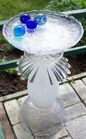 Repurposed Glass Bird Bath