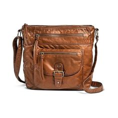 Women's Solid Crossbody Handbag with Front Pocket - Tan ($35) ❤ liked on Polyvore featuring bags, handbags, shoulder bags, tan, brown crossbody, tan purse, brown cross body purse, vegan purses and tan crossbody