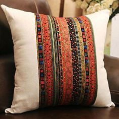 Bohemian Style Colorful Pillow Cover Cotton Linen Decorative Throw Pillow Case Sofa Boho Pillow Cushion Cover - Could do this with ribbons or bias binding. Diy Pillow Covers, Throw Pillow Cases, Decorative Pillow Covers, Bolster Pillow, Sewing Pillows, Throw Cushions, Boho Cushions, Patio Cushions, Seat Cushions