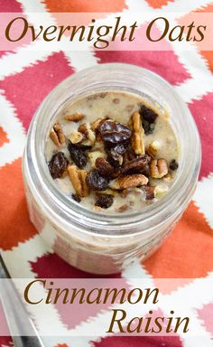 Cinnamon Raisin Overnight Oats - no cooking required! Filling, low fat breakfast that's perfect for a busy morning! Vegan, low fat, high protein, gluten free!