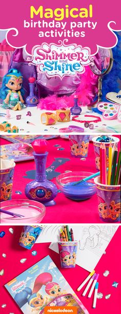 Grant your child's wish with a Shimmer and Shine themed party. Brightly colored party supplies will take guests on a magical adventure. From gifts to goodie bags, find everything you need to throw a memorable birthday bash featuring your favorite Nickelodeon show, from Shimmer and Shine party supplies and party decorations, to fun birthday activities like dress up and coloring.