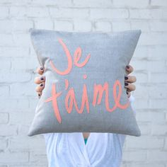 Je T'aime Pillow, Grey and Coral