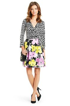 Pop Wrap Limited Edition Amelia Silk Wrap Dress in Spotted Cat Floral Lilac/ Yellow by DVF