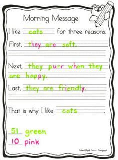 Great ideas for using a morning message to teach/practice different forms of writing. The colors are a competition between the teacher and the students. Helps teach/reinforce specific spelling skills. LOVE LOVE LOVE this!