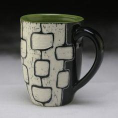 Modstack mug; Clay Studio, Clay Mugs, Sgraffito, Pottery Ideas, Glaze, Bowls, Cups, Surface, Tableware