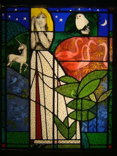 Lady with unicorn, stained glass panel, 88.5x70 cm.