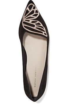 Sophia Webster - Bibi Butterfly Embroidered Suede Point-toe Flats - Black - IT