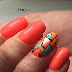 Here you can see an interesting design of manicure that looks great on long nails. A delicate coral nail polish is used here as a base. On the ring finger a geometrical pattern is painted with the help of acrylic paints. Draw the outlines of the pattern with a thin brush and black nail polish. This …