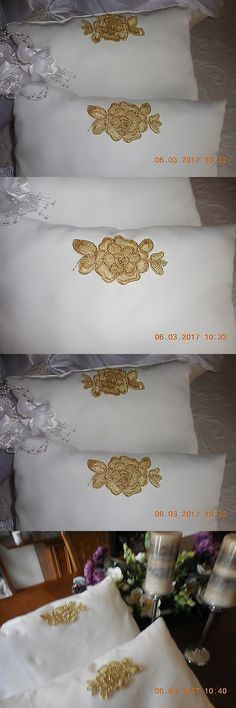 Ring Pillows and Flower Baskets 177762: Wedding Kneeling Pillows Set .( Cream Twill With Gold Rose Applique ) -> BUY IT NOW ONLY: $38 on eBay!