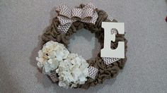 Custom Burlap Wreath with Flowers, Chevron Bow and Monogram Letter Chevron Bow, Monogram Letters, Burlap Wreath, Bows, Wreaths, Lettering, Hydrangeas, Flowers, Projects