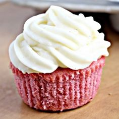 Pink lady cupcakes (strawberry cupcakes with cream cheese frosting...made with real strawberries!)