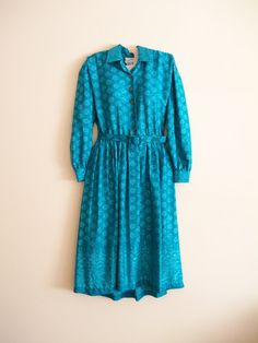 turquoise blue vintage dress with long by LifesABeachVintage, $15.00