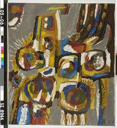 Compositie - G.A.M. Romijn - 1956  Maat: 80cm x 70cm  Materiaal: olieverf op doek  Inventarisnummer: SZ8944